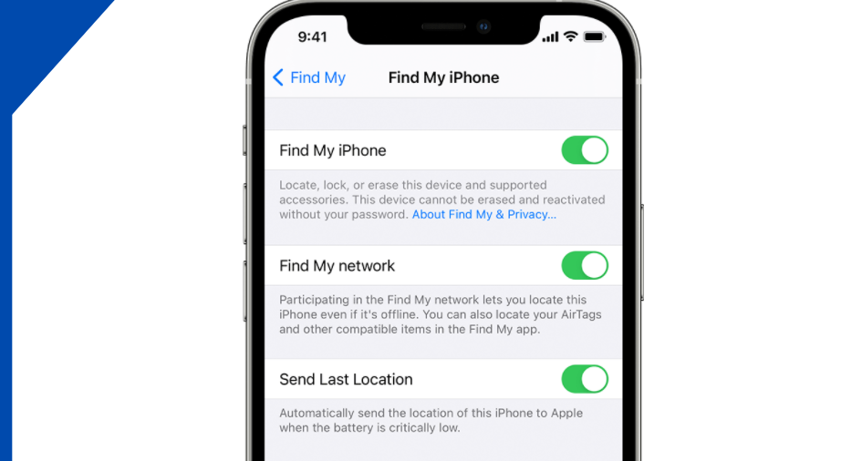Setting-up Find My for iPhone
