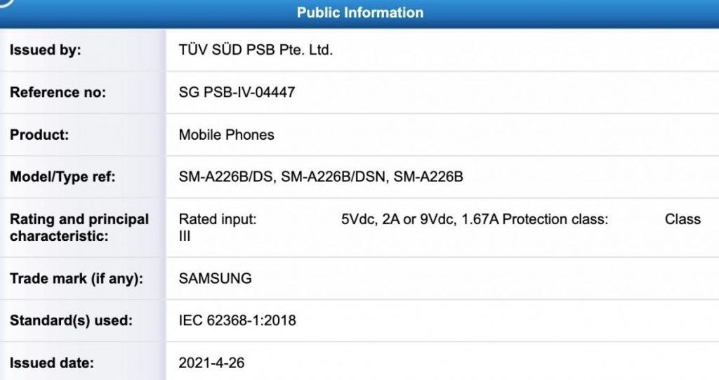 Samsung Galaxy A22 5G TUV Listing