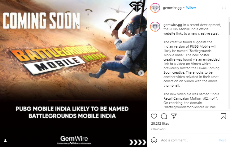 Battlegrounds Mobile India Teased Poster Via GemWire on Instagram