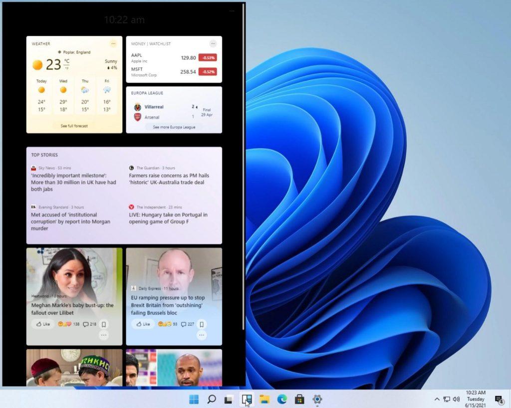 Early version of Windows Widgets in Windows 11