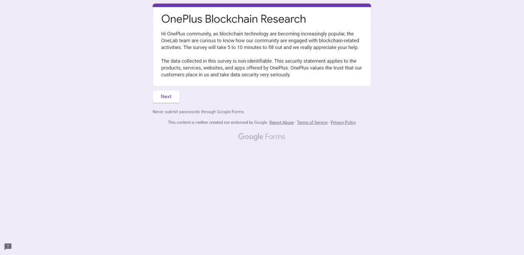 OnePlus Blockchain Survey