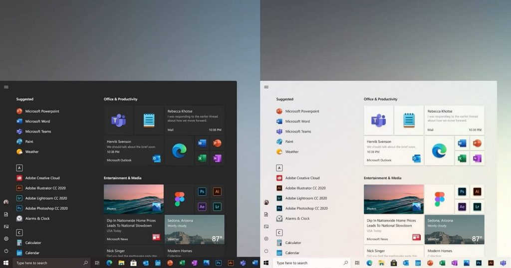 The new Windows 10 redesign